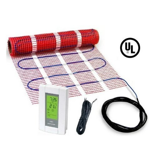 100 sqft heattech 120v electric tile radiant floor heating for Electric radiant heat thermostat